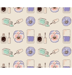 Cosmetics seamless pattern hand drawn nail polish vector