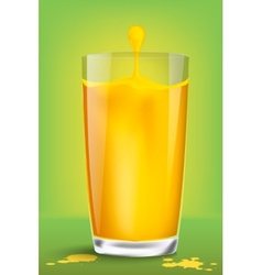 Falling piece of lemon in a glass of juice vector image vector image