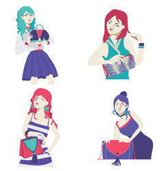 Fashion collection with bright flat girls vector
