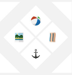 flat icon beach set of ship hook sphere vector image vector image
