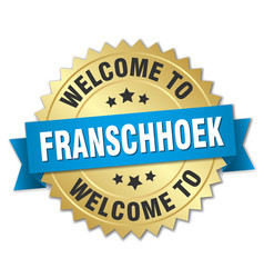 Franschhoek 3d gold badge with blue ribbon vector