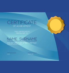 Modern style blank blue certified template vector