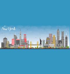 New york usa city skyline with gray skyscrapers vector