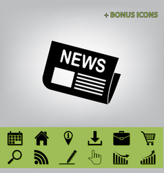 Newspaper sign black icon at gray vector