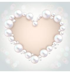 Pearl beads wedding invitation frame on grey vector image