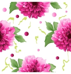 Red Dahlia flower seamless background vector image