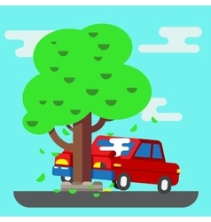 Road accident car vector