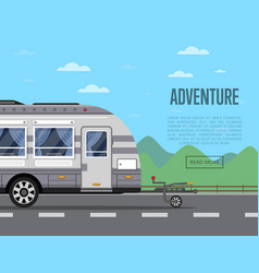 Road adventure poster with camping trailer vector
