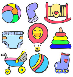 Set of baby element doodles vector