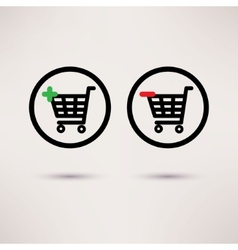 Shopping cart icons Plus and minus signs set vector image vector image