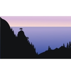 Silhouette of forest on the mountain vector image
