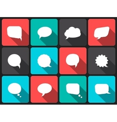 Speech bubbles with long shadow in flat design vector
