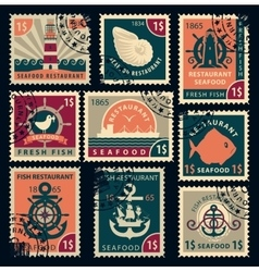 Stamps on seafood restaurants vector