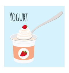 strawberry yogurt plastic cup milk cream product vector image