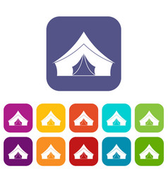 Tent with a triangular roof icons set flat vector