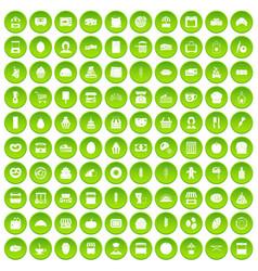 100 bakery icons set green vector