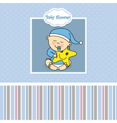 Baby boy birth card vector