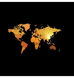 Orange color world map on black background Globe vector image