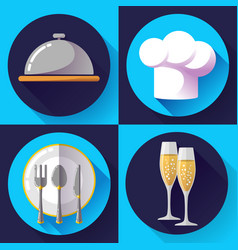 Restaurant icons set cooking and kitchen vector