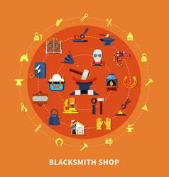 Blacksmith shop signs composition vector