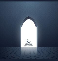 Mosque door with white light coming inside vector