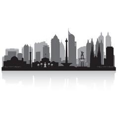 Jakarta indonesia city skyline silhouette vector