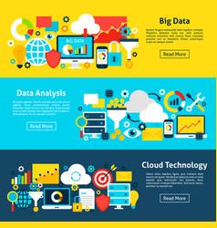 Data analytics horizontal banners vector