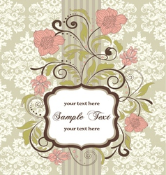 Vintage floral invitation card on damask backgroun vector