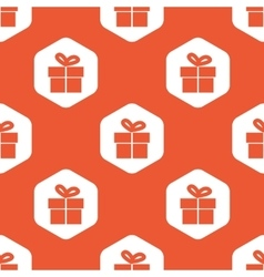 Orange hexagon gift pattern vector
