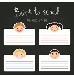 Set of school tags with chlidren smiles vector