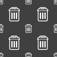 Trash icon sign seamless pattern on a gray vector