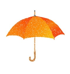 Dotted orange umbrella engraving vector