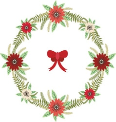 Christmas floral wreath with red bow set vector