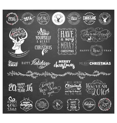 Christmas badges and labels in vintage style vector