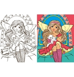 Colouring book of angel girl with cat vector