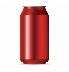 Realistic red aluminum can vector