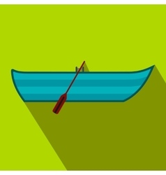 Boat with paddles flat icon vector