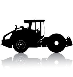 Silhouette of a road roller vector