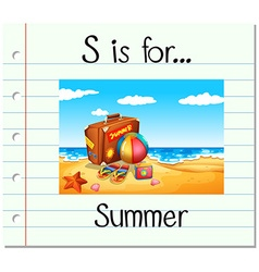 Flashcard letter s is for summer vector