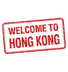 Welcome to hong kong red grunge square stamp vector