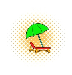 Chair and beach umbrella icon comics style vector