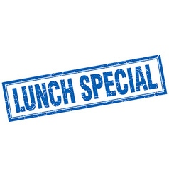 Lunch special blue grunge square stamp on white vector