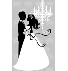 Bride and groom embracing vector image