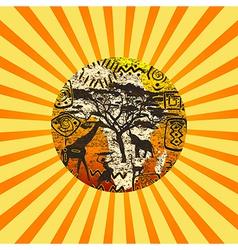 African Sunburst symbols background vector image vector image