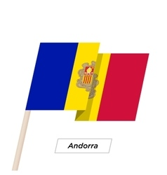 Andorra ribbon waving flag isolated on white vector