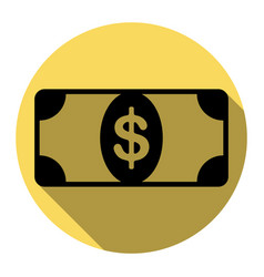 Bank note dollar sign flat black icon vector