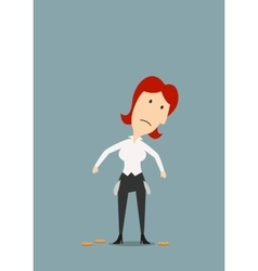 Bankrupt businesswoman with empty pockets vector image
