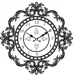 Baroque classic round golden clock vector