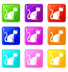 Black cat icons 9 set vector