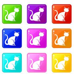 Black cat icons 9 set vector